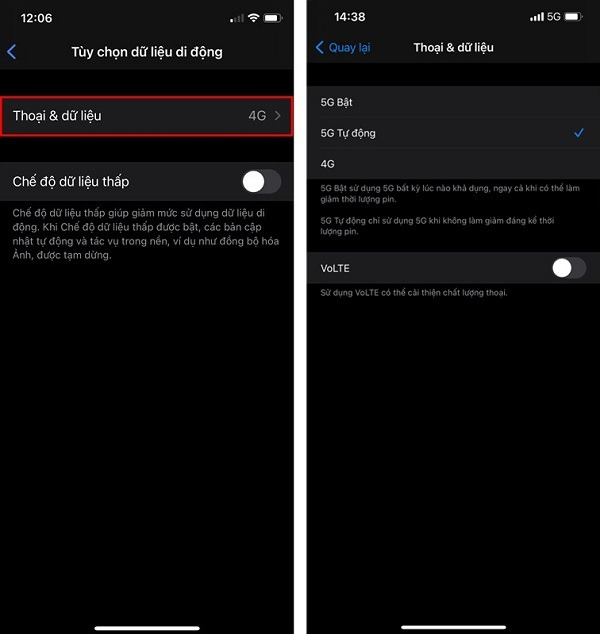 Cách bật 5G Viettel trên điện thoại iPhone
