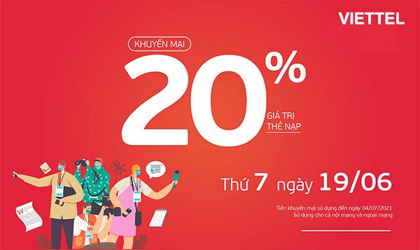Khuyến mãi Viettel ngày 19/6/2021 ưu đãi 20% giá trị tiền nạp bất kỳ
