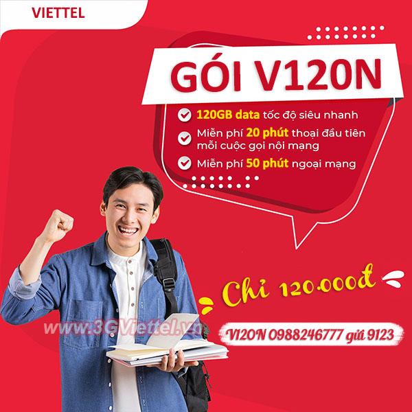 Đăng ký gói cước V120N Viettel miễn phí 120GB và gọi thoại miễn phí