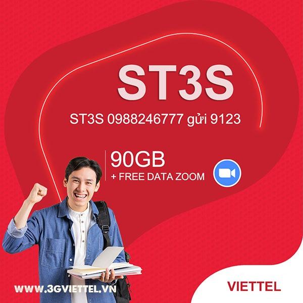 Đăng ký gói cước ST3N Viettel nhận 90GB, free data Zoom trong 90 ngày