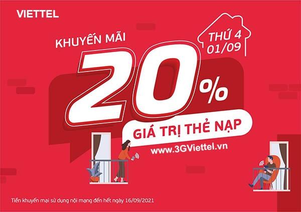Khuyến mãi Viettel ngày 1/9/2021 ưu đãi 20% tiền nạp ngày vàng