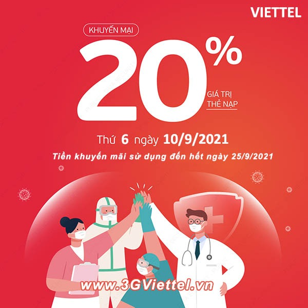 Khuyến mãi Viettel 10/9/2021 ưu đãi 20% giá trị tiền nạp bất kỳ trong ngày